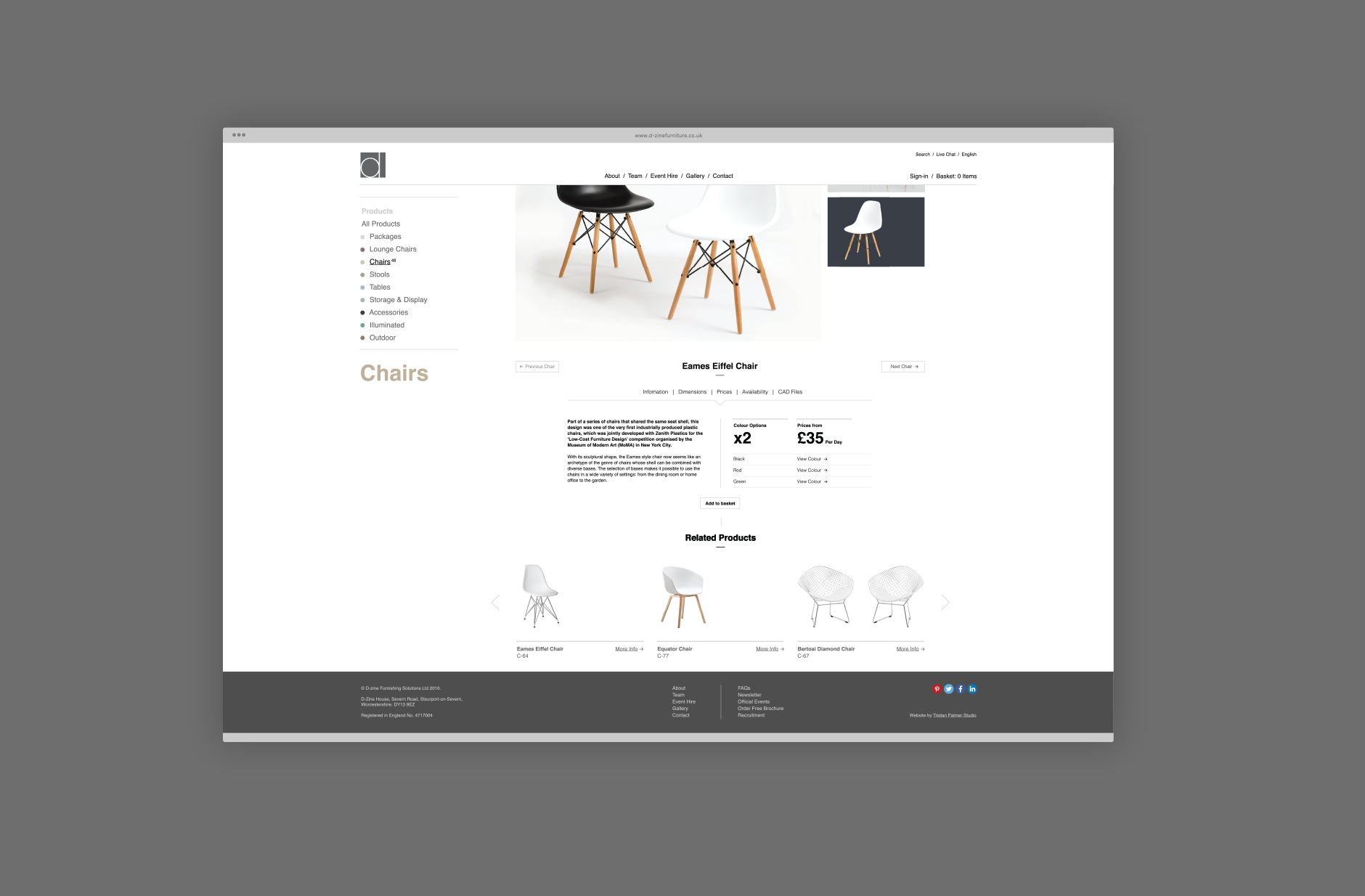D-Zine Furniture Hire Worcestershire Responsive Website Design